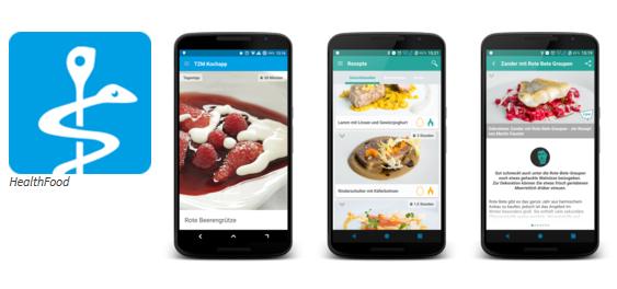 Ansichten der Koch-App HealthFood